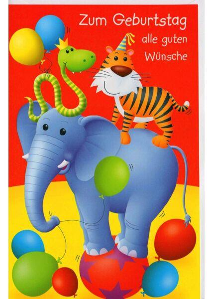 Geburtstagskarten für Kinder Karte Kindergeburtstag Tiere alle guten Wünsche
