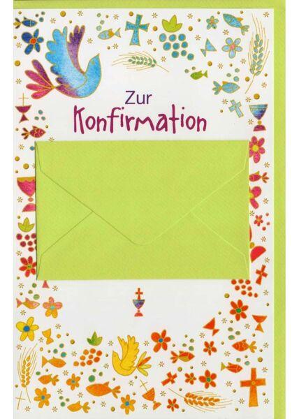 Glückwunschkarten zur Konfirmation Glückwunschlarte Konformation mit Geldkuvert hellgrün
