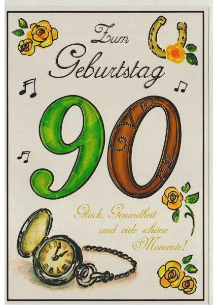Karte Geburtstag 90 Jahre Glück und Gesundheit