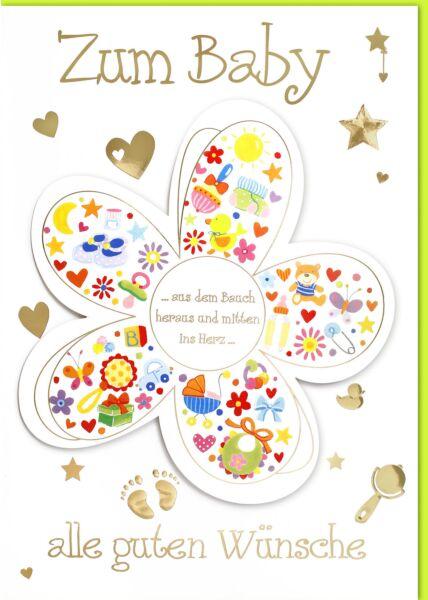 A4 Maxi Karte Geburt BlütenblätterGlückwunschkarte Geburt Babymotive#