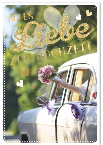 Hochzeitskarte - A4, Maxi, XXL Brautstrauß und Hochzeitskartesauto