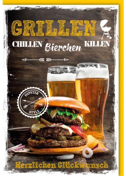 Geburtstagskarte Spruch Burger & Bier