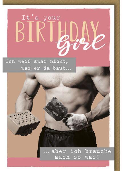 Geburtstagskarte für Frauen It's your Birthday Girl Ziegel