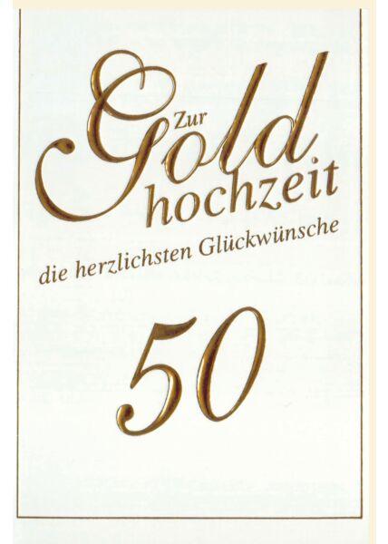 Glückwunschkarte goldene Hochzeit Goldfolie 50