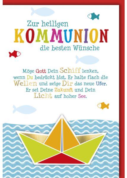 Kommunionskarte Papierboot Wasser Fische