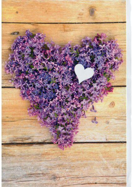 Karte blanko: Herz auf Blüten