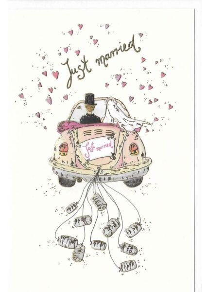 Glückwunschkarte Hochzeit premium Hochzeitsauto