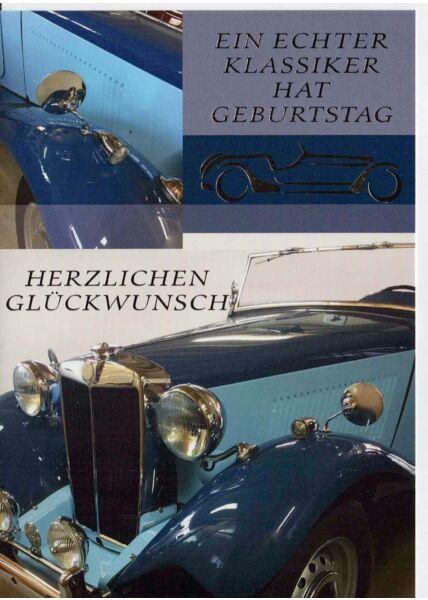 Geburtstagskarte mit Auto. Für Oldtimer Liebhaber
