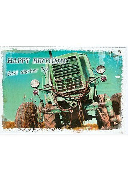 Geburtstagskarte Traktor Trecker Ein starker Typ
