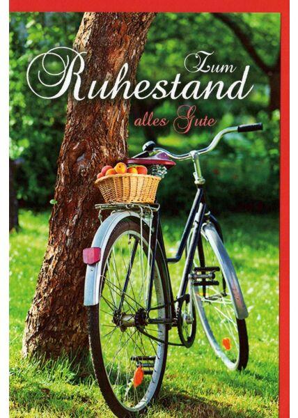 Karte Ruhestand Fahrrad lehnt am Baum, Korb mit Äpfeln