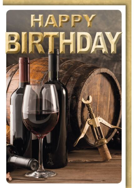 Geburtstagskarte Männer Spruch Holzfass mit Rotwein