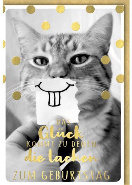 Geburtstagskarte lustig Katze mit gezeichnetem Zahn