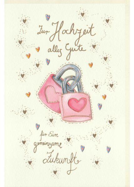 Karte zur Hochzeit Herzen und zwei Schlösser, Naturkarton, mit Goldfolie und Blindprägung
