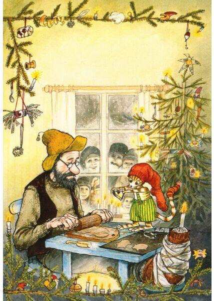 Postkarte Pettersson und Findus Plätzchen backen