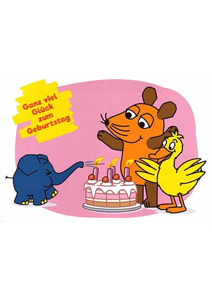 Maus-Postkarte Ganz viel Glück zum Geburtstag
