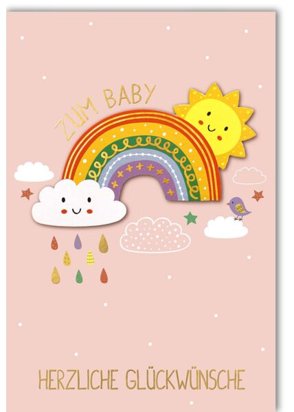 Glückwunschkarte Geburt Mädchen Mädchen, Regenbogen mit Sonne und Wolke