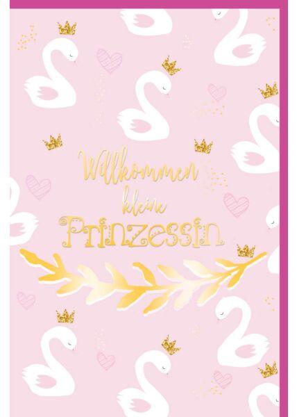 Glückwunschkarte Geburt Mädchen rosa Willkommen kleine Prinzessin