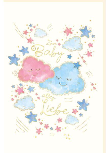 Glückwunschkarte zur Geburt Naturkarton Zum Baby alles Liebe