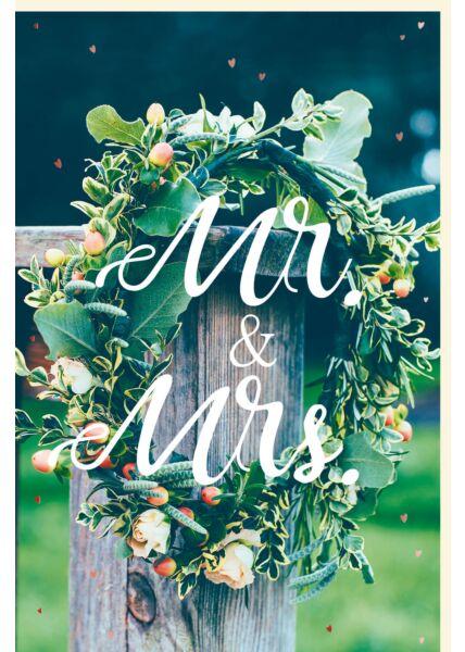 Karte Hochzeit Kranz Balken Mr and Mrs