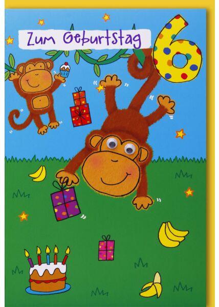 Geburtstagskarte für Kinder 6. Geburtstag - Zwei Äffchen