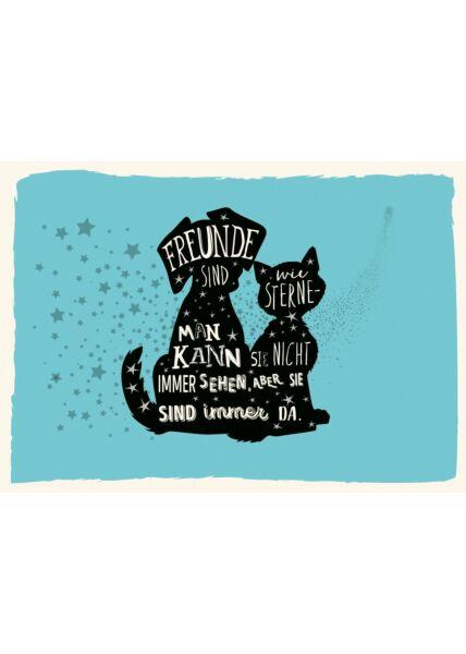 Postkarte Freundschaft Freunde sind wie Sterne