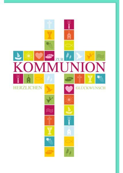 Glückwunschkarte Kommunion Kreuz herzlichen Glückwunsch