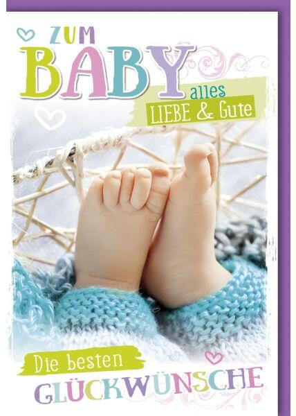 Glückwunschkarte zur Geburt Baby Alles Liebe und Gute Babyfüße