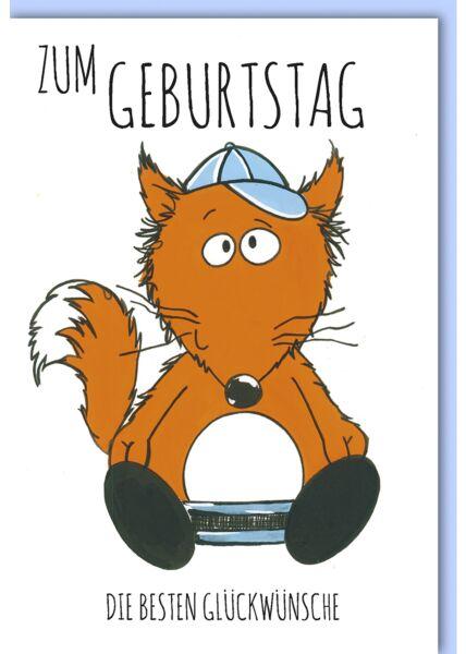 Geburtstagskarte für Kinder Fuchs mit Cappy
