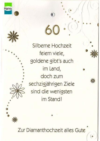 Diamathochzeit: goldene 60 auf weiß mit Verzierung