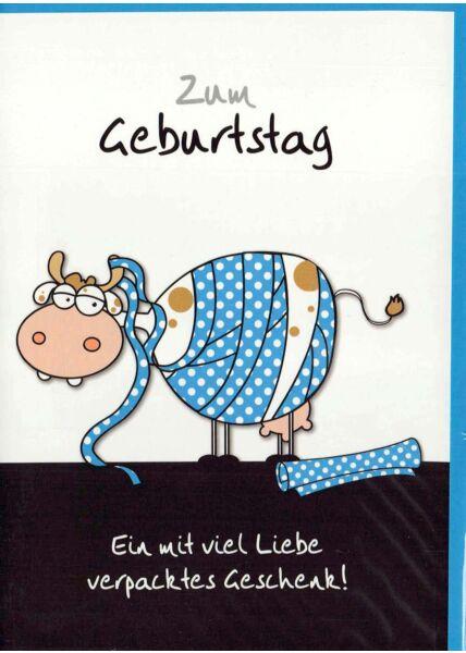 Geburtstagskarte lustig: Kuh mit Geschenkpapier umwickelt