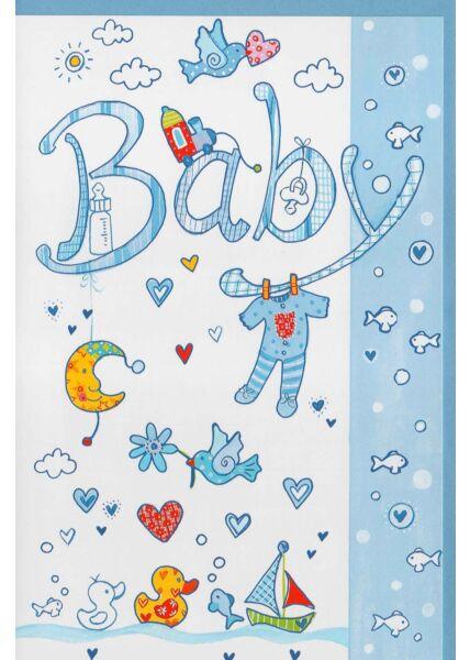 Glückwunschkarte Geburt Junge blau Baby
