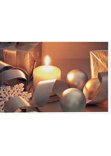 Weihnachtskarte ohne Text Kerze Geschenke