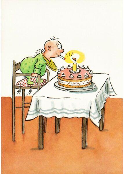 Postkarte lustig Baby Geburtstag Zigarette