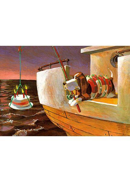 Postkarte Hund Angel Kuchen