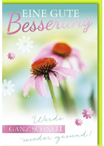 Genesungskarte mit Spruch Rosa Blüten