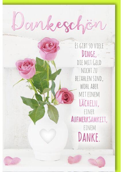 Danksagungskarte Rosen in Vase mit Herz