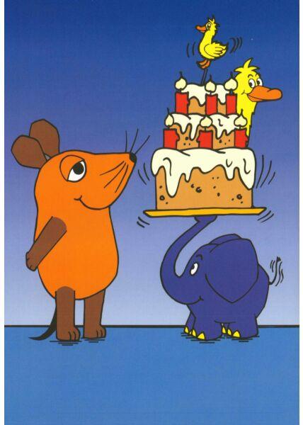 Maus-Postkarte Geburtstagstorte