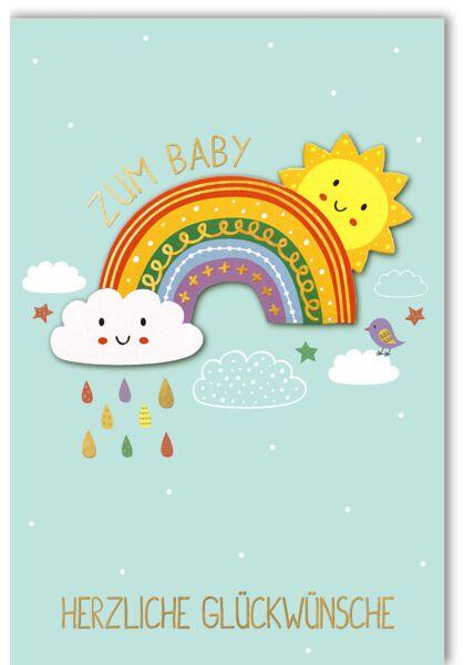 Glückwunschkarte Geburt Jungen Junge, Regenbogen mit Sonne und Wolke
