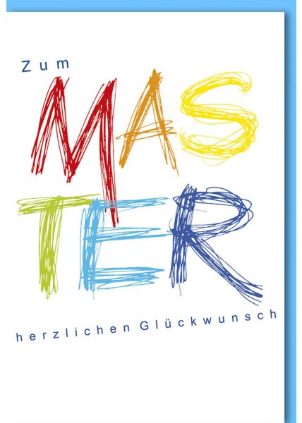 Glückwunschkarte zur Prüfung Master Buchstaben