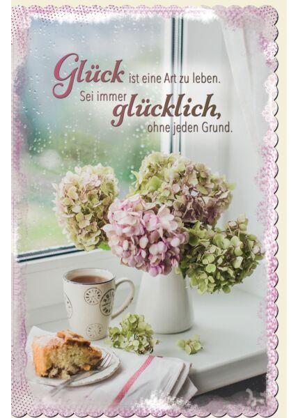 Grußkarte Blumenvase, Kaffee, Kuchen, gestanzt, welliger Rand