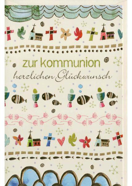 Kommunionskarte mit vielen christlichen Symbolen