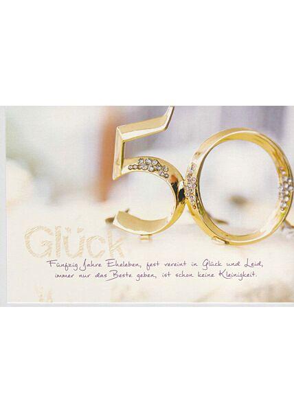 Glückwunschkarte Goldhochzeit fünfzig Jahre Eheleben