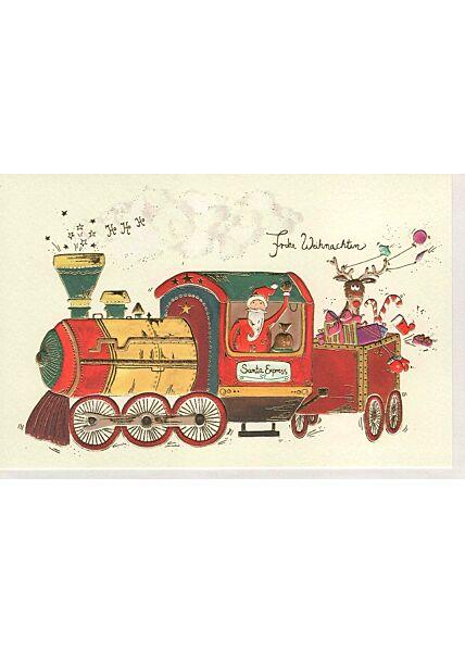 Weihnachtsgrußkarten Weihnachtskarte Naturkarton veredelt Zug