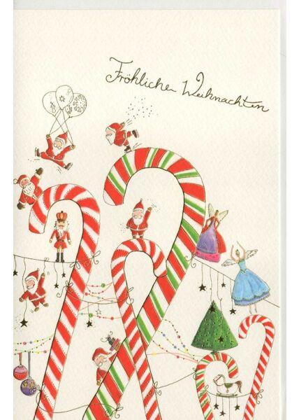 Weihnachtskarte Naturkarton premium Zuckerstab