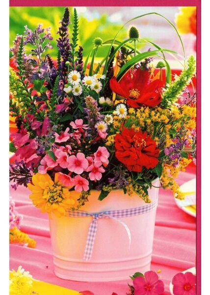 Grußkarte ohne Text Wildblumen Garten Tisch