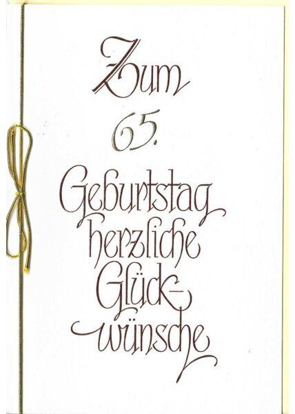 Karte 65 Geburtstag Schleife hochwertig