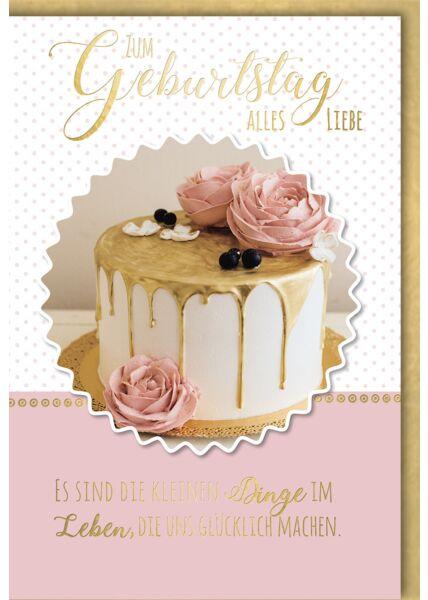 Geburtstagskarte hochwertig Torte mit Dekorrosen