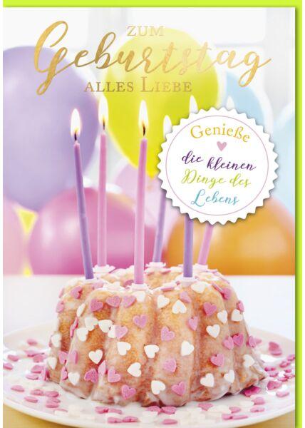 Geburtstagskarte - A4, Maxi, XXL Gugelhupf mit Kerzen