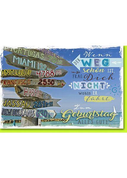Geburtstagskarte mit Spruch Wegweiser am Meer