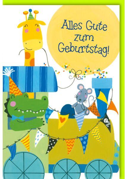 Geburtstagskarte Kinder Lokomotive mit Tieren